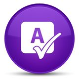 Spell check icon special purple round button Royalty Free Stock Images