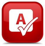 Spell check icon special red square button Royalty Free Stock Photography