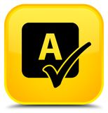 Spell check icon special yellow square button. Spell check icon isolated on special yellow square button abstract illustration Royalty Free Stock Photo