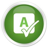 Spell check icon premium soft green round button. Spell check icon isolated on premium soft green round button abstract illustration Stock Image