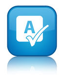 Spell check icon special cyan blue square button Royalty Free Stock Photos