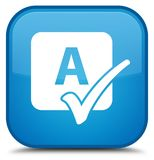 Spell check icon special cyan blue square button Stock Photography