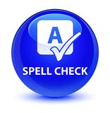 Spell check glassy blue round button. Spell check isolated on glassy blue round button abstract illustration Royalty Free Stock Photos