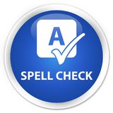 Spell check premium blue round button Stock Photography