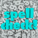 Spell Check Letter Background Correct Spelling Words. Spell Check words on a background of 3d letters to illustrate software, application or program that will Stock Photo