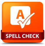 Spell check orange square button red ribbon in middle. Spell check isolated on orange square button with red ribbon in middle abstract illustration Stock Photography