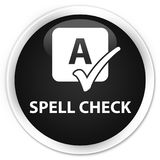 Spell check premium black round button. Spell check isolated on premium black round button abstract illustration Royalty Free Stock Images