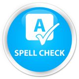 Spell check premium cyan blue round button Stock Images