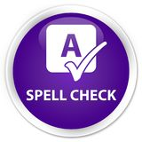 Spell check premium purple round button. Spell check isolated on premium purple round button abstract illustration Royalty Free Stock Photography