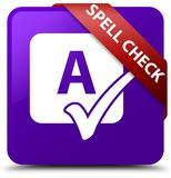 Spell check purple square button red ribbon in corner Stock Photography