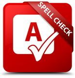 Spell check red square button red ribbon in corner Stock Images
