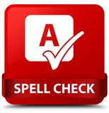 Spell check red square button red ribbon in middle Royalty Free Stock Image