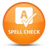 Spell check special orange round button. Spell check isolated on special orange round button abstract illustration Stock Images