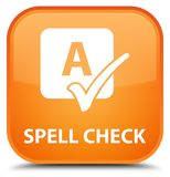 Spell check special orange square button Stock Photos