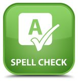 Spell check special soft green square button. Spell check isolated on special soft green square button abstract illustration Royalty Free Stock Photography