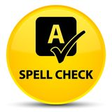 Spell check special yellow round button Royalty Free Stock Images