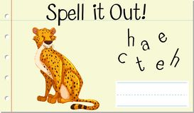 Spell English word cheetah. Illustration royalty free illustration