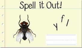 Spell English word fly. Illustration stock illustration