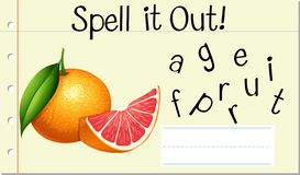 Spell English word grapefruit royalty free stock photography