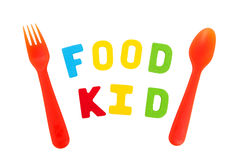 Spell letter of food and kid. On white background Royalty Free Stock Images