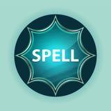 Spell magical glassy sunburst blue button sky blue background stock illustration