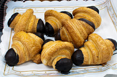 Spelled croissants with chocolate Royalty Free Stock Photo