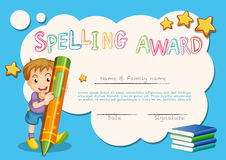 Spelling award template with kid and book in background Royalty Free Stock Photography