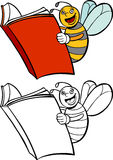 Spelling Bee. A smart bee reading a book - both color and black / white versions Stock Photography