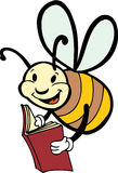 Spelling Bee. A smart bee reading a book Stock Image