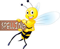Spelling Bee. A cartoon bee holding a sign that says spelling Stock Images