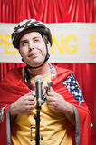 Spelling Bee Contestant. A grown man pretending to be a young boy competeing in a spelling bee royalty free stock photography