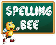 Spelling bee. Illustration of a bee flying in front of a board Royalty Free Stock Image