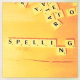 Spelling in game tiles Stock Photo