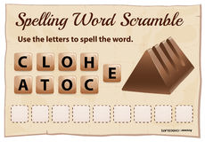 Spelling scramble game template for chocolate Royalty Free Stock Photo