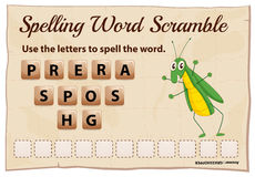 Spelling scramble game template for grasshopper Stock Images