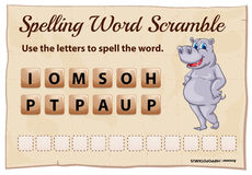 Spelling scramble game template for hippopotamus Royalty Free Stock Photography
