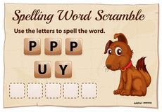 Spelling scramble game template for puppy Royalty Free Stock Images