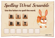 Spelling scramble game template for rabbit Stock Images
