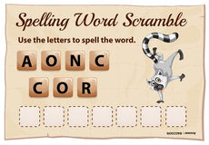 Spelling scramble game template for raccoon Stock Photos