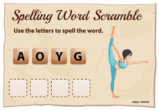 Spelling scramble game template for yoga Stock Photography