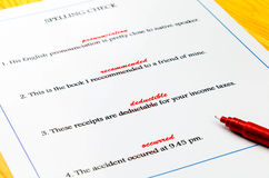 Spelling sheet on table Stock Image