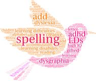 Spelling Word Cloud. On a white background Stock Photo