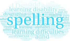 Spelling Word Cloud. On a white background Stock Image