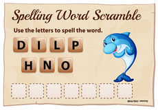 Spelling word scrabble game with word dolphin Royalty Free Stock Photography