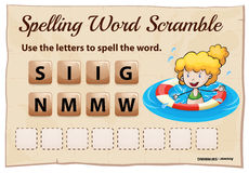 Spelling word scrable game with word swimming Royalty Free Stock Photo