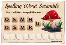 Spelling word scramble game template for mushroom Royalty Free Stock Images