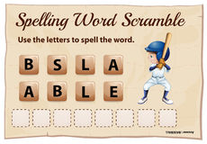 Spelling word scramble game template with word baseball Stock Photos