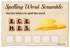 Spelling word scramble game template with word cheese Stock Photography