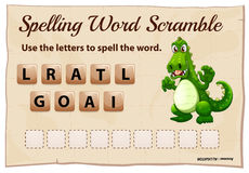 Spelling word scramble game with word alligator Royalty Free Stock Photo