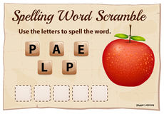 Spelling word scramble game with word apple Royalty Free Stock Image